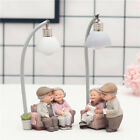 Decorative Resin Old Couple Lovers Figurine Night Light Ornaments Accessories