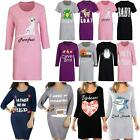 Ladies Nightdress Cotton Nightie Pyjamas T Shirt Nightwear Fun Print Knee Length