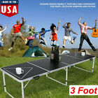 8FT LED Lights Beer Pong Table Outdoor Picnic Beer Table W/Optional Cup Hole