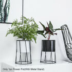 Indoor Outdoor Plant Container With Metal Stand Garden Home Decor Flower Pot