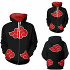 Naruto Akatsuki Cosplay Hoodie Sweatshirt Zipper Jacket Sweater Shirt Costume