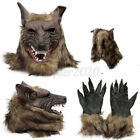 Wolf Head Mask Latex Rubber Werewolf Gloves Halloween Party Costume Cosplay Set