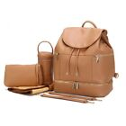 PU Leather Mommy Baby Diaper Bag Backpack Maternity Nappy Chaning Pad Hooks