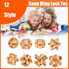 Adults IQ Brain Teaser Cube Kong Ming Lock Wooden Puzzle Educational Games Toys