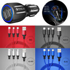 3 in 1 Multi Charger Nylon Cable Cord Lighting Type C Micro USB Fast Charger