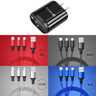 3 in 1 Multi Charger Nylon Cable Cord 8Pin iOS Type C Micro USB Fast Charger