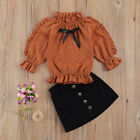 Toddler Girls Baby Dress Outfits Long Sleeve T-shirt Tops Skirt Clothes Set New