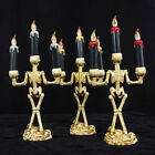 HN- Halloween Skull Skeleton Candlestick Candle Holder Bar Home Party Decor Reli