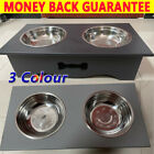 Pet Bowls for Dogs Cats Double Dog Bowls Stainless Steel Non-spill Wood Stand