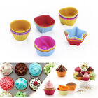 10PCS Silicone Muffin Cases Round Heart Shaped Cupcake Cups Resuable Cake Molds