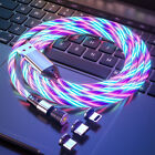540° Rotate Magnetic LED Light Up USB Phone Charger Cord For iPhone Type C Micro