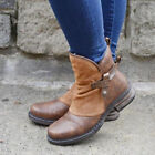 Womens Winter Warm Plush Flats Outdoor Leather Non-Slip Comfortable Ankle Boots