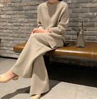 2Pcs Women Knitted Sweater Wide-legs Pants Casual Loose Warm Suit Fashion HOT