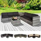8Pcs Patio Rattan Seating Garden Furniture Set Table w/ Cushions 6 Seater