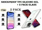 Shockproof Soft Silicone,2 pack Glass, For For iphone 12 Pro 11 7 8 6 XR XSMax X