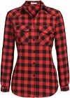 Genhoo Women's Flannel Shirt Roll Up Long Sleeve Plaid Collared Button Down Boyf