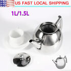 1.5/1L Stainless Steel Teapot Tea Pot Coffee Kettle With Tea Leaf Filter Infuser