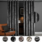 Luxury Crushed Velvet Pair Fully Lined Ready Made Ring Top Eyelet Curtains Grey