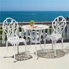 3 Piece Outdoor Patio Bistro Set Cast Aluminum Floral Patio Table Dining Set
