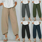 Women Ladies casual Cotton Linen Baggy Harem Plus Size Trousers Loose Pants NEW