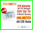 New ZTE Velocity MF923 4G LTE Hotspot SIM + 4 Months Truly Unlimited Data AT&T