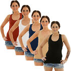 Womens Ladies Sleeveless Stretch Ribbed Vest T Shirt Sports Cami Tank Top
