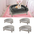 XS-L Handmade Wicker Pet Bed Basket Raised Cat Dog Puppy Sofa Couch w/No Cushion