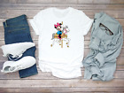Mickey Mouse Minnie Mouse Horse Short Sleeve White Men T shirt F032