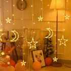 LED icicle Star Moon Lamp Fairy String Curtain Lights Garland Outdoor Home Decor