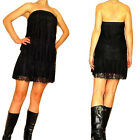 $295 Seven 7 For All Mankind Black Floral Lace Silk Sexy Tiered Dress LBD XS S M