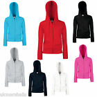 FRUIT OF THE LOOM LADYFIT ZIP HOODED TOP HOODIE 7 COLOURS