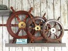 "Wood / Brass Ship Wheel ~ Nautical Maritime Decor ~ 12"", 18"", 24"", 36"", 48"""