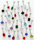 CZ Cubic Zirconia Belly Ring~*YOU PICK COLOR/SHAPE*~1/2