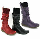 Womens Soft Sock Top Fashion Mid Calf Boots Size 3-8 UK