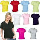 Ladies V Neck Fitted T Shirt  Size UK 8 to 16 NEW 100% Cotton