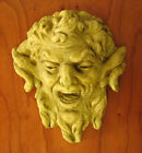 """PAN MASK PLAQUE 7"""" WALL Gate FENCE Accent OUTDOOR Garden CAST STONE Yard USA NEW"""