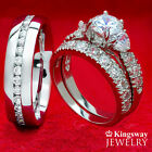 HIS HERS 3 PC WOMENS 925 SILVER HEART & MENS STEEL ENGAGEMENT WEDDING RINGS SET