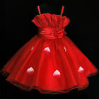 R5299 Red Christmas Boxing Day Flowers Girls Pageant Dresses SZ 2-3-4-5-6-7-8-9T