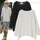 AnnaKastle New Womens Crewneck Mohair Pullover Sweater size S - M Black Cream