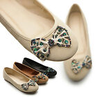 New Womens Shoes Ballet Low Heels Flats Loafers Cute RhineStones Multi Colored