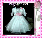 P05-2110 Pink White Wedding Party Girls Dress + Cardigan Set SZ 2-3-4-5-6-7-8-9Y