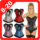 New Burlesque Polka Dots Satin Bridal Corset Fancy Dress Costume Moulin Rouge