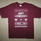 happy hanukkah ugly sweater christmas party mazel tov contest t shirt holiday