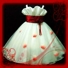 UK 1811 R818 Red Christmas Pageant Flowers Girls Party Dress AGE 2-3-4-5-6-7-8-9
