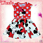 Reds Minine Mouse Polka Dot Party Outfit Flower Girls Dresses SIZE 1-2-3-4-5-6Y
