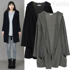 AnnaKastle Womens Fuzzy Soft Hair Hooded Sweater Cardigan sz S - M Black Gray