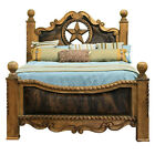 Cowhide Bed with Star King Queen Western Rustic Cabin Lodge Real Solid Wood