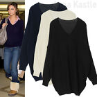 AnnaKastle New Womens V neck Comfort Boxy Chunky Cotton Sweater Top sz M - L