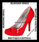 WOMEN SHOES RED BOW DIAMANTE HIGH HEELS EVENING/PARTY Sz. AU5.5-10