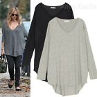 Annakastle Ladies V-neck Hi Lo Curved Hem Soft Knit Cape Sweater Tunic Top S - M